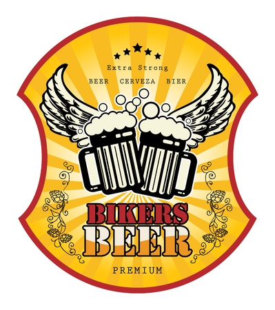 Bikers Beer label Stock Vector - 15365086