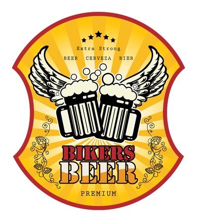 Bikers Beer label Stock Vector - 15365086
