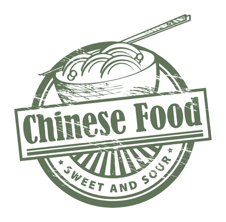 china cuisine: Grunge rubber stamp, with the text Chinese Food written inside Illustration