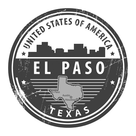 Grunge rubber stamp with name of Texas, El Paso Vector