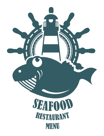 Seafood restaurant menu sign Vector