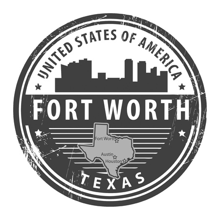 worth: Grunge rubber stamp with name of Texas, Fort Worth