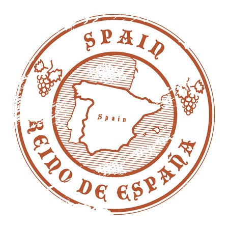 stamp passport: Grunge rubber stamp with the name and map of Spain Illustration