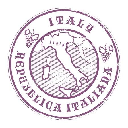 passeport: Tampon en caoutchouc grunge avec le nom et la carte de l'Italie