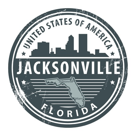 Grunge rubber stamp with name of Florida, Jacksonville Vector