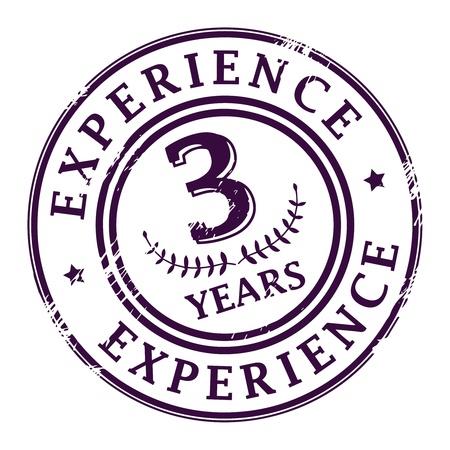 경험: 3 년의 경험 안에 기록 된 텍스트로 grunge 고무 스탬프