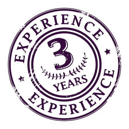 experience design: Grunge rubber stamp with the text 3 Years Experience written inside Illustration