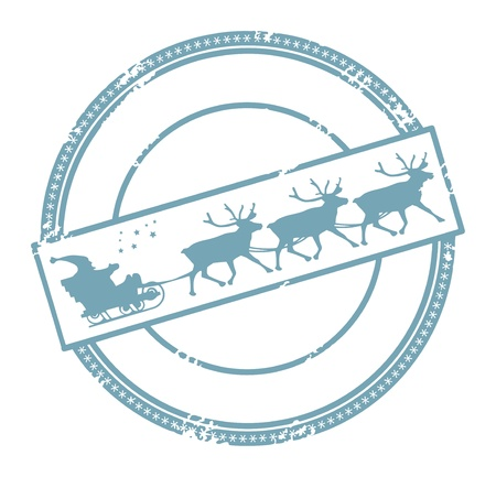 santa sleigh: Grunge Christmas post stamp with space for text