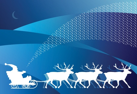 Christmas card - sledge with Santa Claus Vector