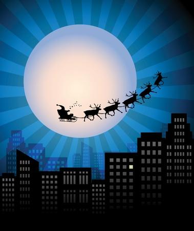 Santa s Sleigh over city Stock Vector - 15365095
