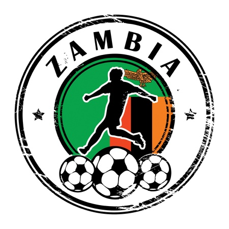 Grunge stamp with football and name Zambia Stock Vector - 15365092