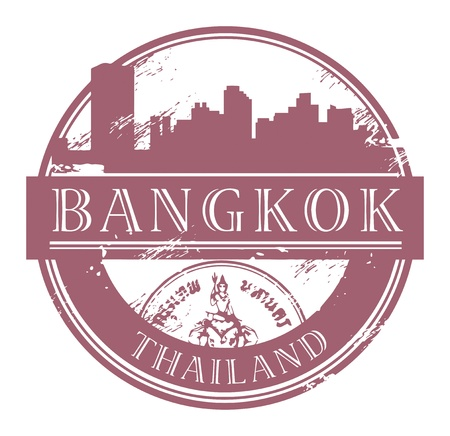 thai culture: Grunge rubber stamp with the name of Bangkok, Thailand written inside the stamp
