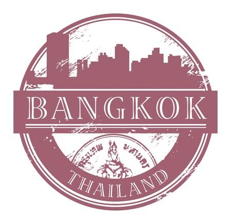 timbre voyage: Tampon en caoutchouc grunge avec le nom de Bangkok, en Thaïlande écrit à l'intérieur du timbre