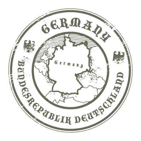 germany map: Grunge rubber stamp with the name and map of Germany