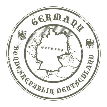passeport: Tampon en caoutchouc grunge avec le nom et la carte de l'Allemagne Illustration