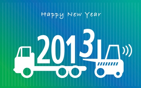 Happy New Year greeting card - fork lift truck at work Stock Vector - 15552932