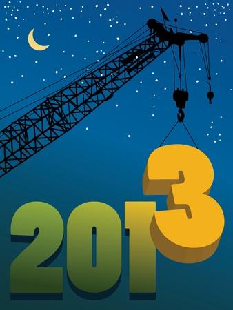 Happy New Year greeting card - crane at work