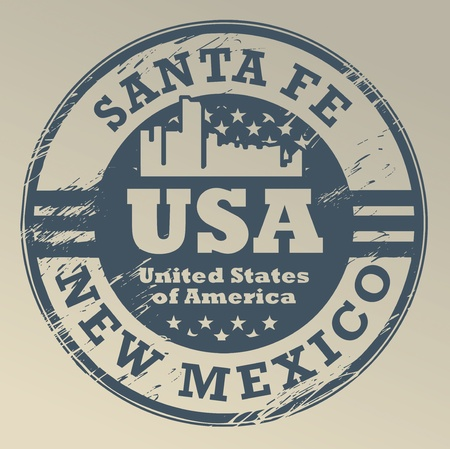 new mexico: Grunge rubber stamp with name of New Mexico, Santa Fe