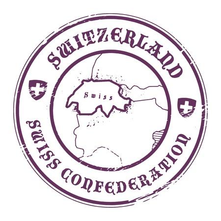 Grunge stempel met de naam en de kaart van Zwitserland