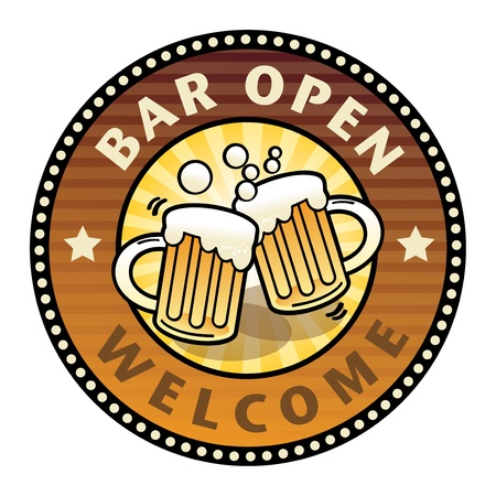 Label with the Beer Mugs and text Bar Open written inside Stock Vector - 15676553