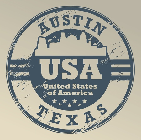 Grunge rubber stamp with name of Texas, Austin Vector