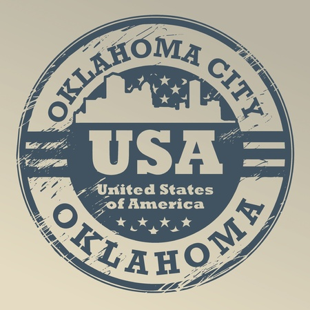 oklahoma: Grunge rubber stamp with name of Oklahoma, Oklahoma City
