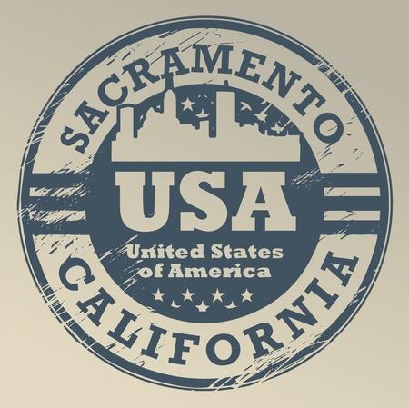 sacramento: Grunge rubber stamp with name of California, Sacramento