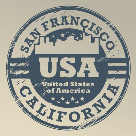 san francisco: Grunge rubber stamp with name of California, San Francisco