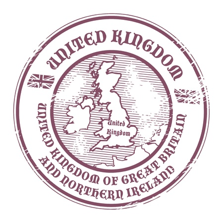 passport stamp: Grunge rubber stamp with the name and map of United Kingdom