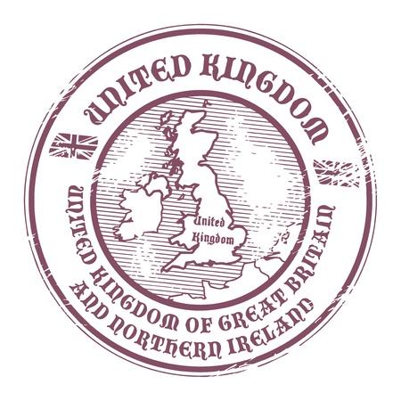 passeport: Tampon en caoutchouc grunge avec le nom et la carte du Royaume-Uni Illustration