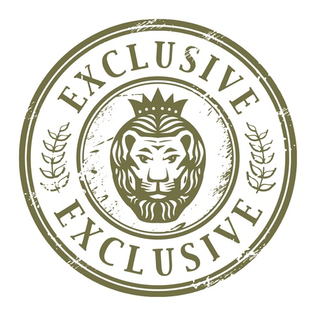 Grunge rubber stamp with Lion head and the word exclusive written inside the stamp Vector