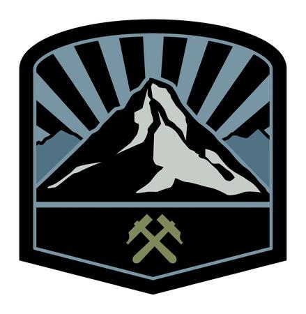 ice mountain: Mountain adventure sign Illustration