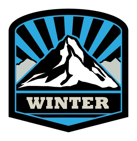 Winter mountain sticker Vector