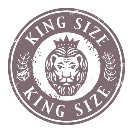 Grunge rubber stamp with Lion head and the words King Size written inside the stamp Vector