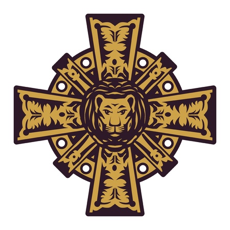 Lion head and iron cross Vector