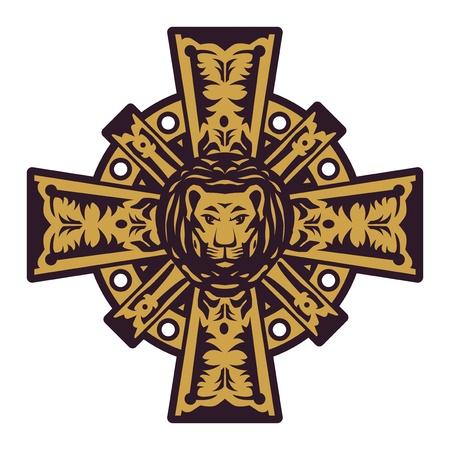head protection: Lion head and iron cross Illustration