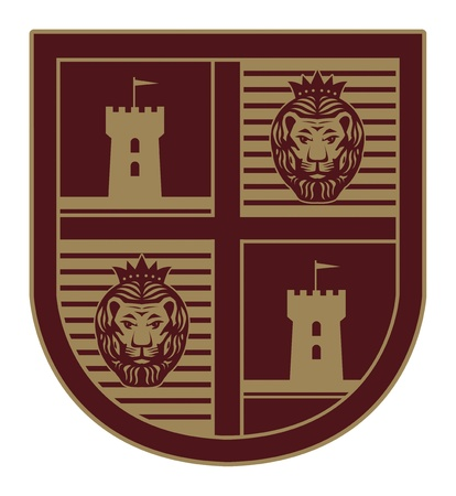 Shield with a lion and castle Vector