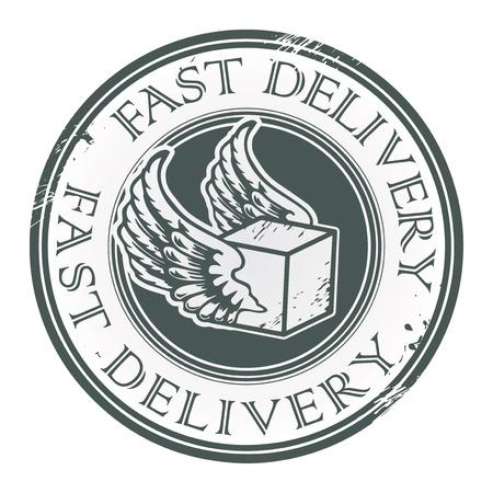 курьер: Гранж штампа с крыльями и текст написан Быстрая доставка внутри Иллюстрация