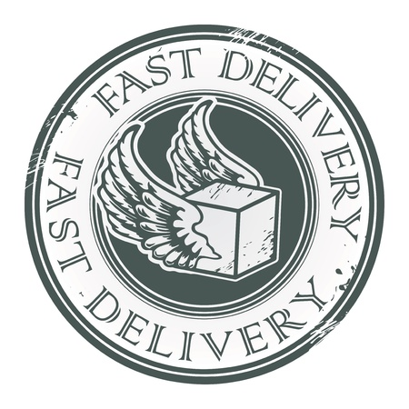 Grunge rubber stamp with wings and the text Fast Delivery written inside Vector
