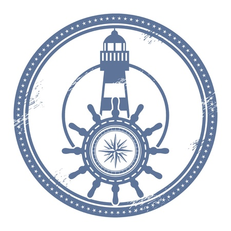 steer: Grunge stamp with lighthouse and space for text