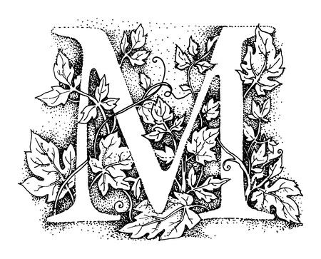Symbole Alphabet Lettre M, illustration dessiner à main