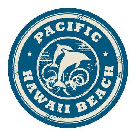 dolphin silhouette: Grunge rubber stamp with name of Pacific, Hawaii