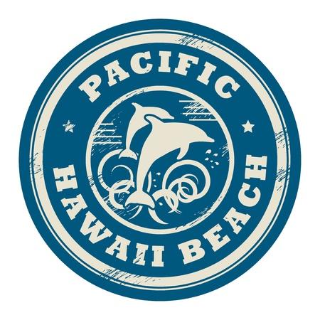 delfini: Grunge timbro di gomma con il nome di Pacifico, Hawaii