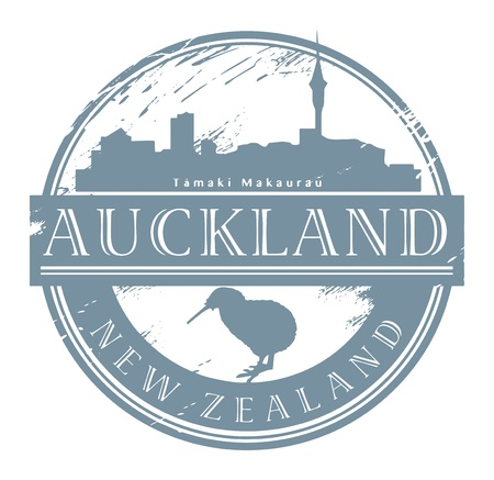 Auckland, New Zealand stamp Vector