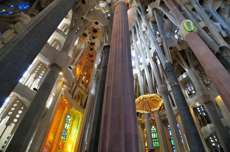 BARCELONA - MARCH 12: interior of Sagrada Familia cathedral in Barcelona, Spain. It was created by famous Catalan archtect Antonio Gaudi. March 12, 2012 Barcelona, Spain.