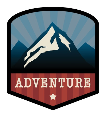 retro sunrise: Mountain adventure sign Illustration