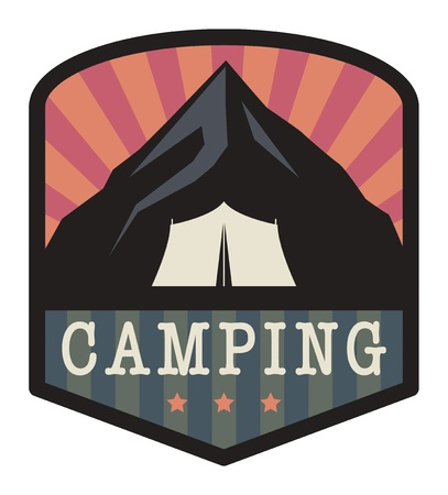 Mountain camping sign Vector