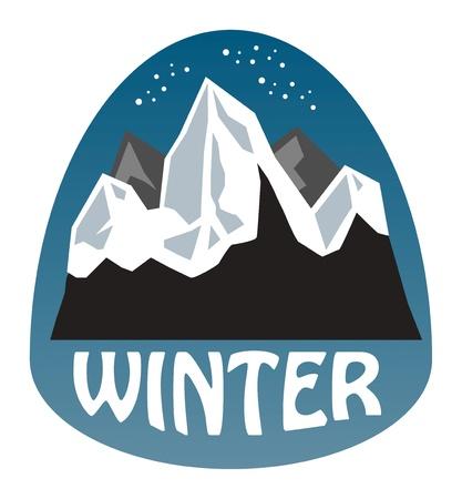 Winter mountain sticker Stock Vector - 16196655