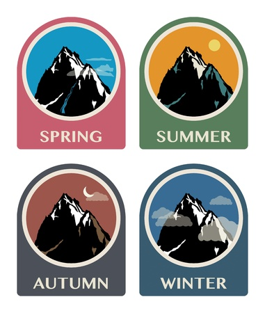 Four seasons mountain icon set Vector