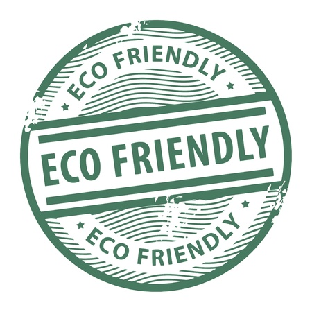 grunge stamp: Grunge rubber stamp with the text Eco Friendly written inside the stamp Illustration
